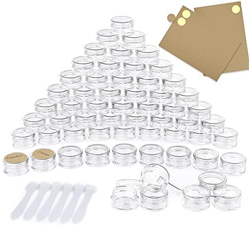 60 Piezas Contenedores de plástico, PAMIYO 5 ml Envase Cosmético Vacío Pequeño Plástico Puede Olla Cosmética Tarro Vacío Crema de Viaje con Tapa + 6 Mini espátulas y Dos Pegatinas Redondas