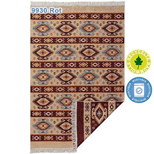 mynes Home Teppiche aus Baumwolle mit Fransen Waschbarer Teppich wendbar Fleckerl Flickenteppich Webteppich Waschbar mit Läufer 100% recycelter Baumwolle, bunt, Farbe: 9930 Rot, Größe: 70 cm x 140 cm