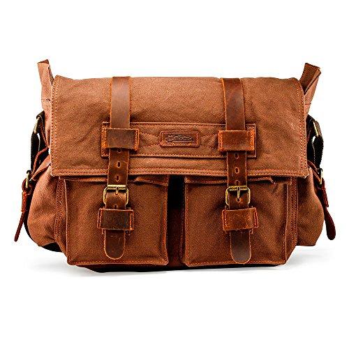 """GEARONIC Mens Canvas Leather Messenger Bag for 14"""" 15"""" 17"""" Laptop Vintage Shoulder Crossbody"""