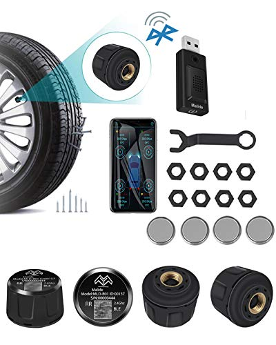High Precision Bluetooth TPMS with 4 Tire Sensors and USB Voice Broadcaster,Tire Pressure Monitor System Bluetooth APP Control Real-time Displays, Supports Android and iOS