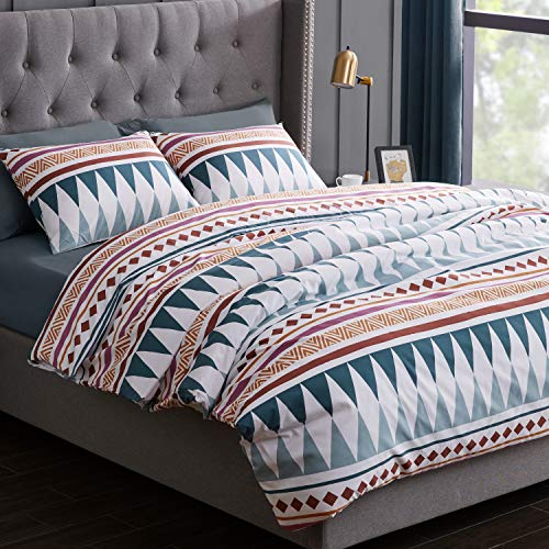 KB & Me Boho Chic Bohemian Teal Blue Geometric Duvet Comforter Cover and Sham 3 pc. King Size Bed Bedding Set Modern Rustic Southwestern Colorful Aztec Hippie Patterned Tribal Diamond Triangle Urban