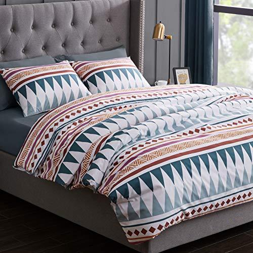KB und Me Boho Chic Bohemian Bettwäsche, geometrisch, Blaugrün, 3 Stück Bettwäsche-Set für Doppelbett, modernes rustikales südwestliches Design, mit Aztekenmuster, Hippie-Muster, Triangel