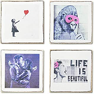 4 Banksy Art Coasters Set & Holder   Rustic Wood with Art Banksy Prints   Great Housewarming Gift   Gifts for Art Lovers by Zumatico