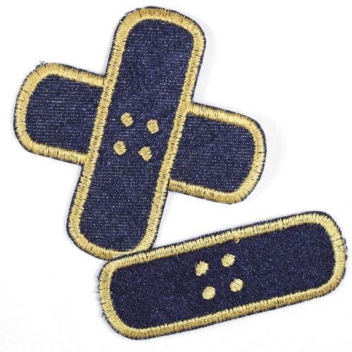 Bügelflicken 2 Pflaster Bügelbilder gestickte Aufbügler Jeans blau gold Set klein mittel Flicken zum aufbügeln Jeans Patches für Kinder und Erwachsene zum Jacken und Hosen reparieren