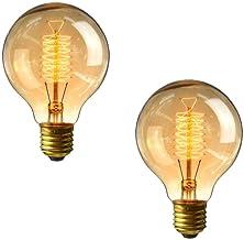 G80 Edison Schroeflamp 60w - Set van 2 dimbare vintage lampen E27 Schroef, decoratieve spiraalvormige gloeilampen Zacht Wa...
