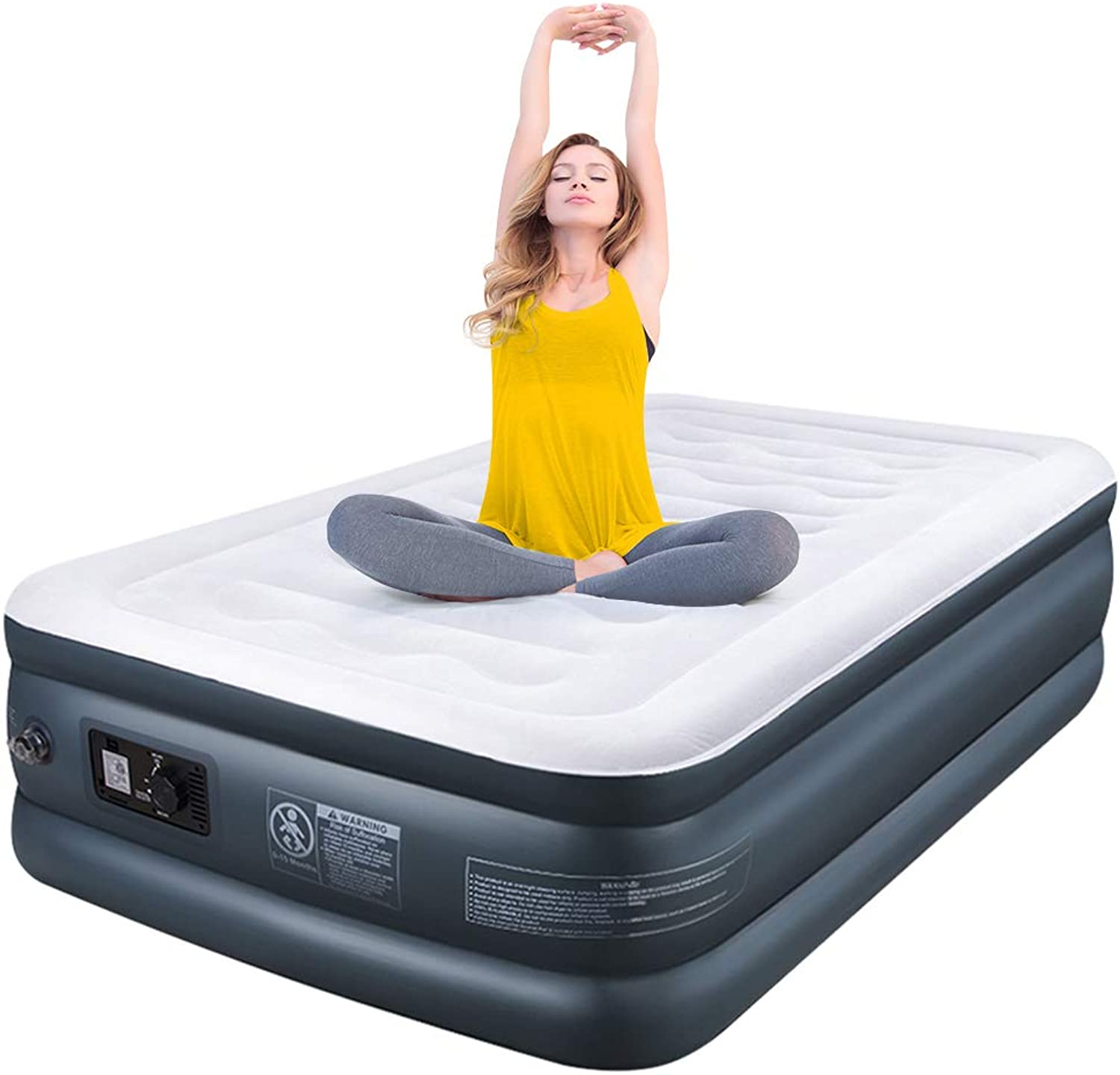 """Camabel Twin Air Mattress with Built in Pump Luxury Raised Inflatable Mattress Blow Up Mattress Elevated Double High Airbed Flocked Top for Comfort with High Capacity Electric Pump, Bed Height 18"""""""