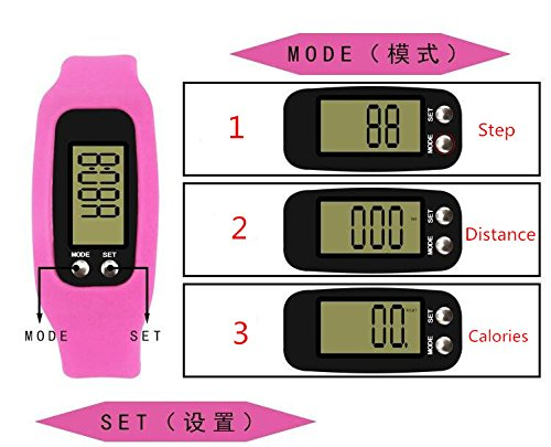 VANKER Monitor de Actividad Silicona Pantalla LCD Digital Podómetro Caminar Distancia Calorías Contador Reloj Deportivo para Niños/Hombres/Mujeres, Color Rosa roja