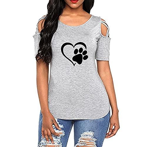 Mayntop Camiseta de verano para mujer de manga corta, con hombros descubiertos, cuello en O, C-gris, 40