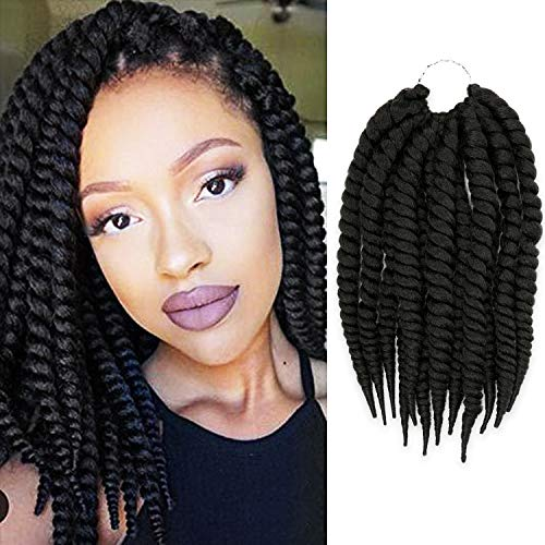 6 Packs 12 Inch AU-THEN-TIC 2X Jumbo Senegalese Twist Crochet Braid Hair Havana Twist Crochet Hair Havana Mambo Twist Crochet Braids Hair Extensions, Free Gift (6-PACK, 1)