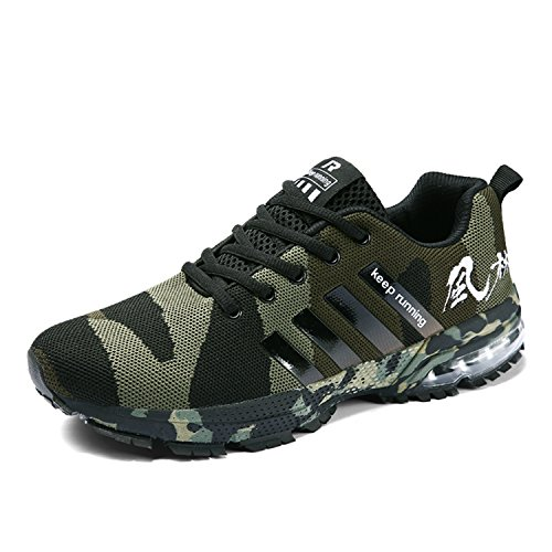 Topteck Air Cushion Running Shoes Men Womens Lightweight Sports Sneakers Athletic Walking Tennis Camo Green