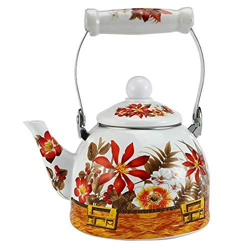 Tetera de esmalte floral, tetera de agua Tetera de flor de esmalte Tetera de cerámica utilizada en estufa electromagnética/cocina de gas/calentador de tubo electrónico Utensilios de cocina, 2L