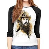 Tticus Cromwell Chris Stapleton Tshirt Woman 3/4 Long Sleeve Round Neck Baseball Raglan Sleeve T Shirts Black