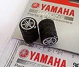 Set 2 Originales Yamaha Diapasón Moleteado Negro Rueda Tapón para Válvula Funda Protector Motocicletas, Bicicletas, Atv , Coche, Furgoneta.