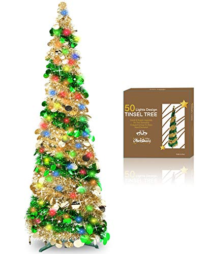 TURNMEON Artificial Christmas Tree with 50 Color Lights Battery Operated, 5 Feet Pop Up Tinsel Xmas Tree with Balls Ornaments for Home Party Office Fireplace Holiday Xmas Decorations Indoor(Green)