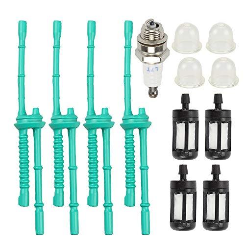Powtol (Pack of 4 4140 358 7702 Fuel Line + Fuel Filter Primer Bulb for STIHL FS38 FS45 FS46 FS55 FS55R FS90 FS90R KM55R KM110R HT101 HL45 MM55 FS100 FS110 FS130 Trimmer Weed Eater