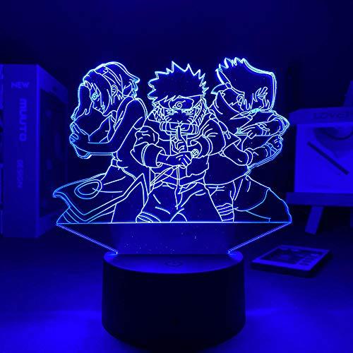 3D noche luz narutoed anime lámpara anime decoración manga día de San Valentín regalo noche luz para niños 3D lámpara luz nocturna zBXQ