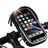 ICOCOPRO Waterproof Bike Phone Mount Bag, Bicycle Handlebar Bag Sensitive Touch Screen Phone Holder Case, Cycling Frame Top Tube Bags with Sun Visor Fits Cellphone Below 6.5''