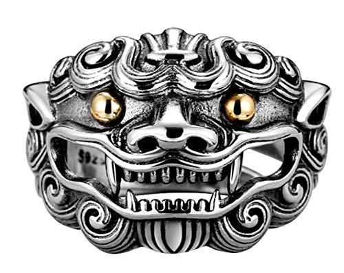 CHXISHOP Anillo de león de Plata esterlina 925 de los Hombres, Personalidad dominante de Plata esterlina índice Anillo de Dedo Apertura Anillo Ajustable joyería de Plata rega One Size