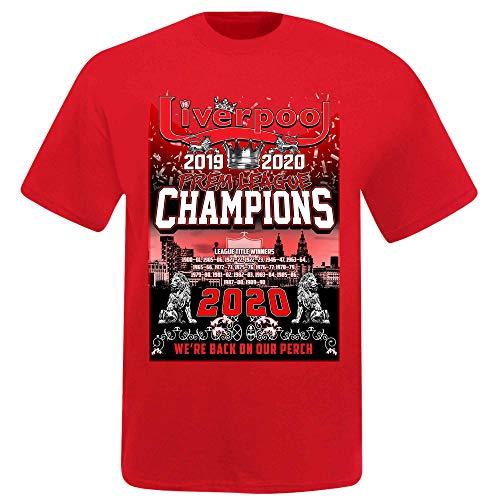 Camiseta unisex Liverpool 2020 Premier League Winners (100% algodón y tallas S a 4XL), Hombre, LIVERPOOL 2020 PREM CHAMPS MERCH, rojo, 3XL