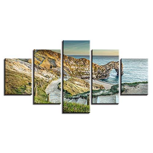 5 Lienzos Impresión Cuadros Paisaje Marino de la Playa de la Costa jurásica Modificado Imagen Gráfica Decoracion para Salón Dormitorio Pared Listo para Colgar Marco 150X80cm