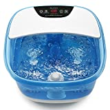 Foot Spa Bath Massager with Heat Bubbles Vibration and Pedicure Grinding Stone for Exfoliating, Upgraded Touchscreen Panel and Adjustable Temperature with 4 Mechanical Massage Rollers