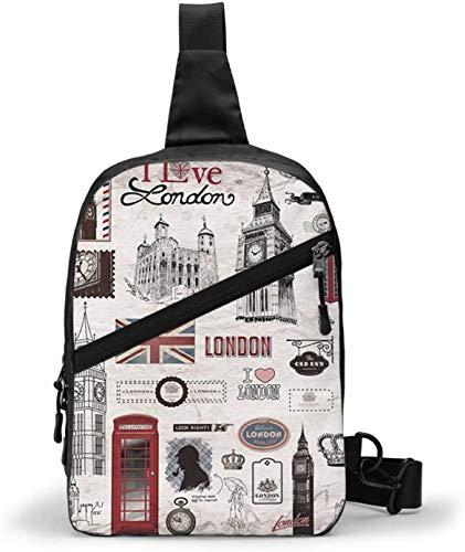 I Love London Schultertasche, Schultertasche, Brusttasche, Outdoor, Wandern, Reisen, persönliche Tasche, für Damen und Herren, wasserabweisend