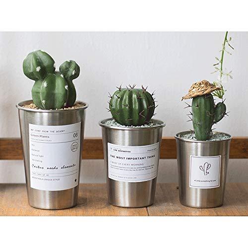 Bol de Jardin Pot écologique Ensemble De 3 Nordic Style en Acier Inoxydable Coupe Bureau Bureau Plante De Bureau Pot Simple Décoration De La Maison Bol en Plastique Yamato