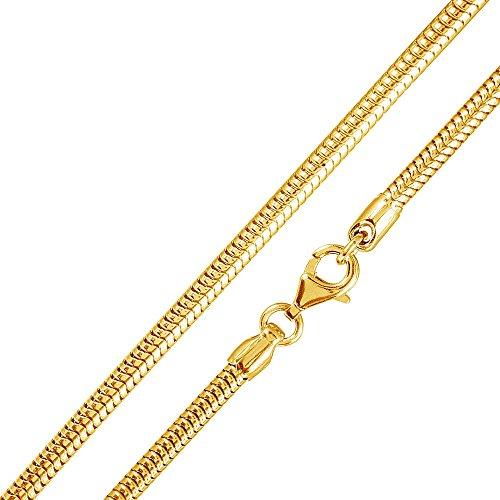 MATERIA 925 Silber Schlangenkette Gold - Damen Halskette Collier vergoldet 2,7mm in 40-80 cm + Box #K54, Länge Halskette:40 cm