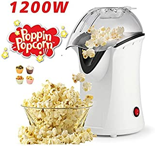 Hot Air Popcorn Popper With Wide Mouth Design,1200W 60Hz Popcorn Maker,With Butter Warming/Measureing Cup, Popping Chute Design Easy To Cleanup