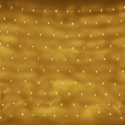 140er LED Lichternetz warmweiß 31V 2m x 1,5m koppelbar auf transparentem Kabel Lights4fun