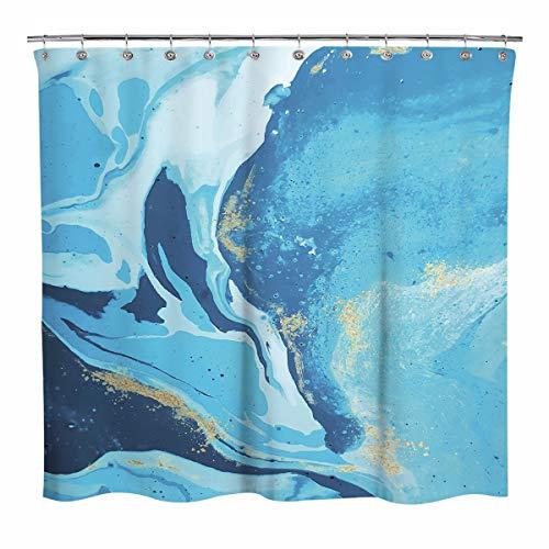 Sunlit Design Natürlicher Ozeanblauer Wasserfluss Stoff Duschvorhang, abstrakter Stil Flüssigkeitsfluss Badezimmer Dekoration Gardinen, maschinenwaschbar – Blau