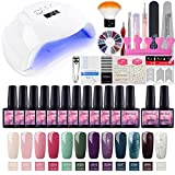 Saint-Acior Kit Uñas de Gel 12PCS Esmalte Semipermanente Soak off 8ml Secador de Uñas 54W UV Lámpara Top Coat Base Coat Kit para Manicura Pedicura