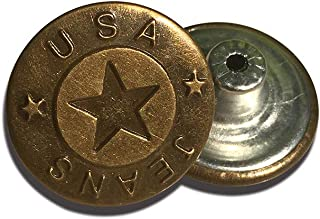 12 Sets Metal Buttons,Shileded Replacement Jeans Buttons,Cool Button,Combo Copper Tack Buttons,Antique Color Pattern Engraved Metal Buttons,0.79Inch(Pentagram)