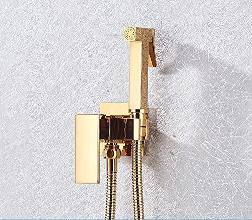 PLUIEX Sistema de Ducha Grifo de Ducha bidé Negro Mate Grifo de bidé de latón Macizo Grifo Mezclador de Agua fría Caliente Grifos de Inodoro, A01, Dorado