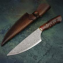 Best Quality Kitchen Knives 7.5 inch Damascus Steel Chef's Knives Rosewood Handle Gyotou Knife Cleaver Handmade Kitchen Knife With Leather Sheath