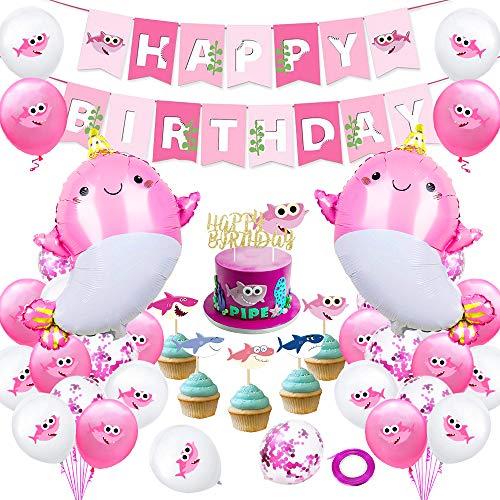 AYUQI Geburtstags Feier Dekorationen mit DIY Cake Topper, Rosa Happy Birthday Banner, Meerestiere, Hai Beschrifteten Konfettiballons, Einzigartigen Dekorationen zum Geburtstag