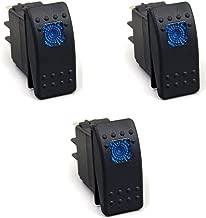 XT AUTO 12V 20 Amp 3pins Blue Light Rocker Switch Kit 3-pack