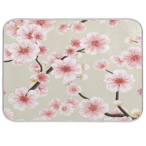 Lihuaval - Alfombrilla de secado de platos con flores japonesas, con aislamiento térmico, almohadilla seca para cocina, encimera, accesorios de mesa