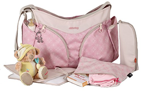 okiedog MONDO 36001 leichte geräumige Wickeltasche mit Schultergurt, viele Fächer, inkl. CLIPIX Kinderwagenhaken, Wickelunterlage, isolierter Flaschenhalter und Zubehörbeutel, Biscotti rosa, ca. 49 x 32 x 19 cm