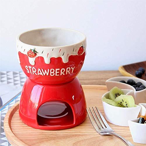 LFK Fondue Set Keramik Porzellan Teelicht Kerze Käse Butter Schokolade Fondue Set Käse Fondue Schokolade Fondue 2 Farbe (Color : Red)