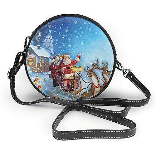 TURFED PU Runde Umhängetasche Christmas Santa im Schlitten mit Rentier und Spielzeug im verschneiten Nordpol Tale Fantasy Image Navy Purse Single