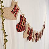 Merry Christmas Banner - Burlap Sock Shaped Christmas Decoration, Unique Hand-Sewn Christmas Decor, Great Firepalce Decoration for Christmas