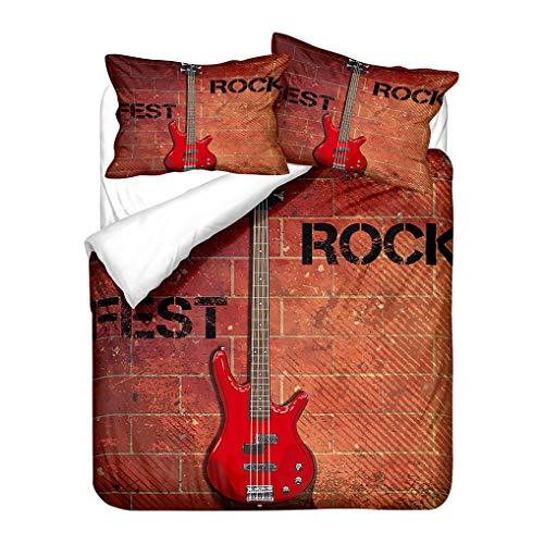 Juego de Cama 3D Guitarra Rojo Azul Agua Fuego Hippie Música Estilo Funda nórdica y Funda de Almohada Niños Chico Chica Funda de edredón con Cremallera (Estilo 4, 180x220 cm - Cama 105/90 cm)