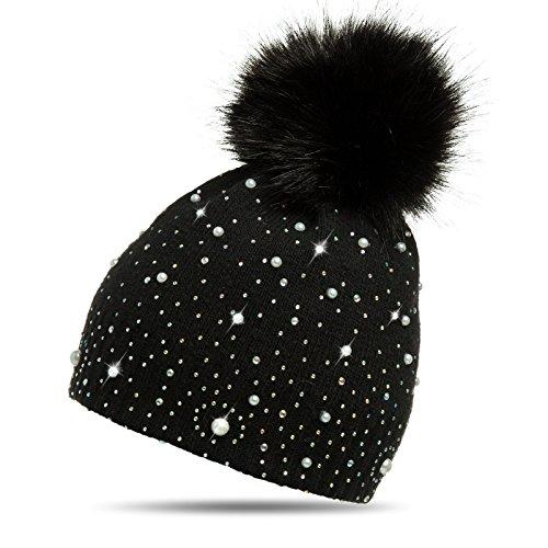Caspar MU143 Damen Fein Strick Winter Mütze mit Fellbommel, Farbe:schwarz,...