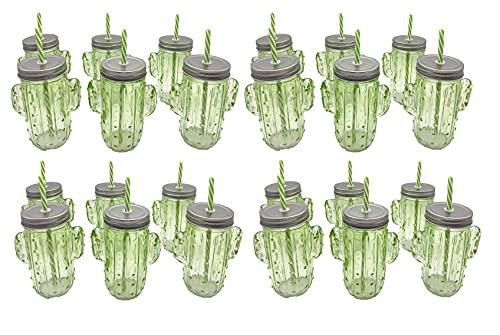 Lote 24 Jarras cactus verdes con tapa y pajita – Jarritas cristal…