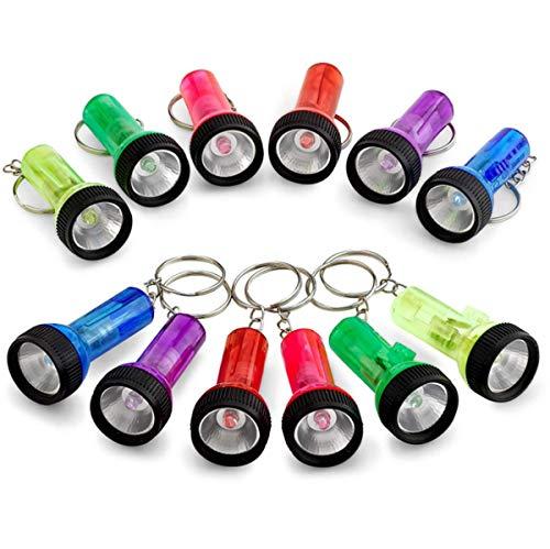 Paquete de 12 mini linternas LED linterna, ligero y portátil, varios colores adecuados para clases de enseñanza, huracán, camping, fiesta, mochilero, cortes con gancho