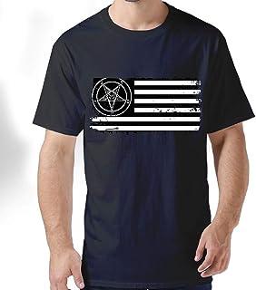 ZYXcustom Retro Satanic American Flag Men's Short-Sleeve Crewneck T-Shirt