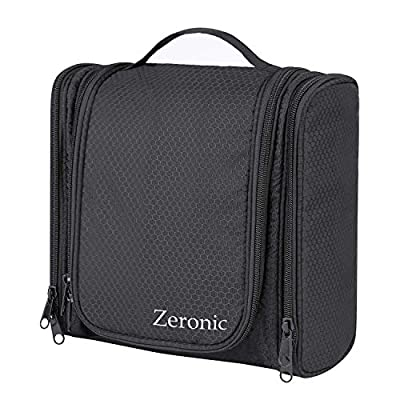 Toiletry Bag,Hanging Travel Toiletry Organizer Kit Portable Waterproof Cosmetics Bag ZERONIC Multifunctional Bathroom Shower Shaving Bag with Hook for Men or Women (Black)