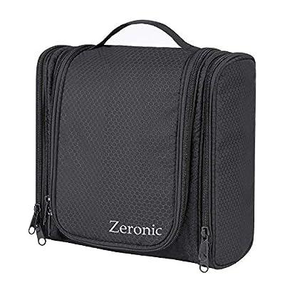 Toiletry Bag,Hanging Travel Toiletry Organizer Kit Portable Waterproof Cosmetics Bag ZERONIC Multifunctional Bathroom Shower Shaving Bag with Hook for Men or Women (Black)