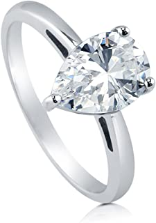 BERRICLE Rhodium Plated Sterling Silver Pear Cut Cubic Zirconia CZ Solitaire Engagement Ring 1.8 CTW